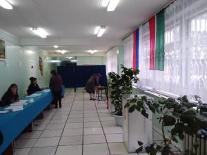 Избиратель заполняет бюллетень. Тайна голосования не соблюдается. Фото: Н.Вавилова