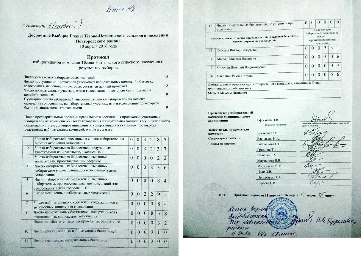 протокол избирательной комиссии бланк итоговый